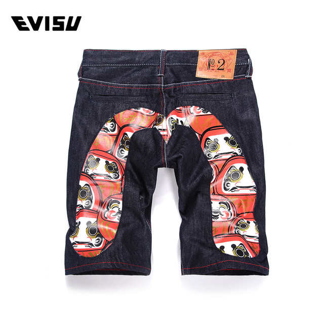 c5d506aec9f9 Evisu 2018 Mens Jeans Shorts Summer Fashion Casual Mens Pockets Shorts  pants Straight Printing Men Jeans Blue shorts Jeans 639