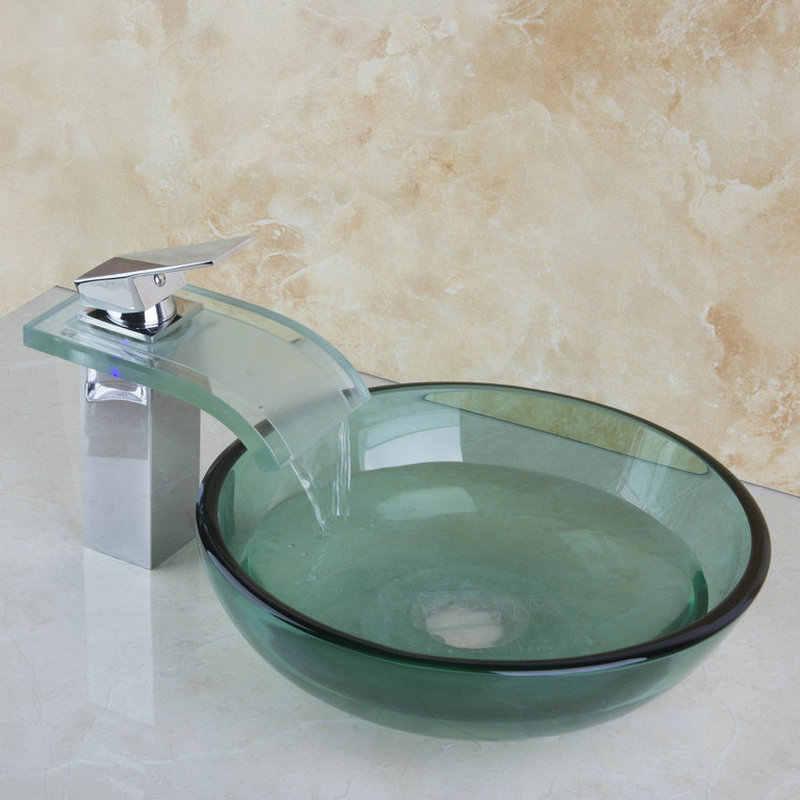 Monite Vòng Sơn Phòng Tắm Art Chậu Rửa Tempered Glass Tàu Chìm Thác Thủy Tinh Bằng Đồng LED Lưu Vực Chìm Mixer Tap Vòi Set