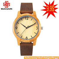 SIHAIXIN 2016 Men S Bamboo Wooden Wooden Wrist Watches With Genuine Leather Leather Band Luxury For