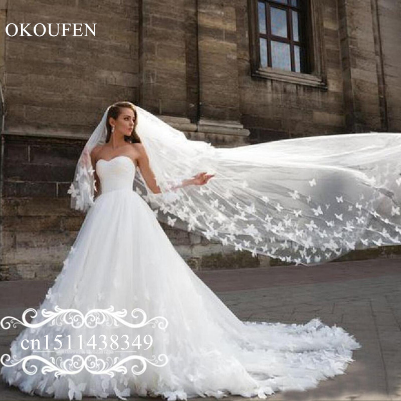 Butterfly 3D-Floral Appliques Wedding Dress With Veil Long Chapel Train Puffy A Line White Tulle Bridal Dresses For Women