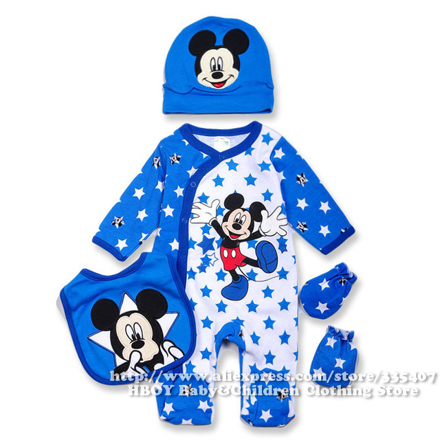 Brand D 4pcs set Mickey Mouse Baby clothing sets Boys Rompers Bodysuits  Overalls Bibs Gloves Hats Blue Newborn Spring summer2014 462da34a6e04