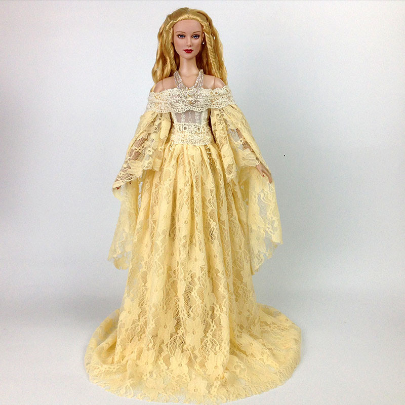 T02 X506 Blyth st Doll clothes 1/3 1/4 bjd 1/6 dolls Accessories One neck lace dress black yellow white color 1pcs