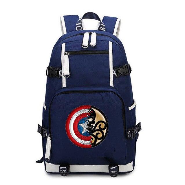 a824485208 Captain America Avengers borsa a tracolla zaino maschile e femminile  studenti delle scuole superiori borsa da