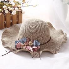 New lady wave flower shade hat Big women sun shade straw hat Simple wild girl sun hat catalog sun wave