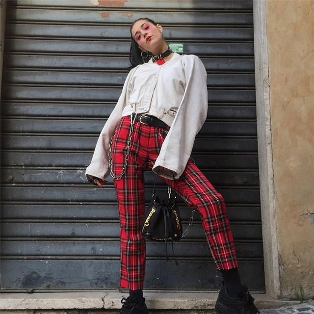 2018 Vintage Chains Red Plaid Pants Women Casual Streetwear Checkerboard Trousers Hip Pop High Waist Slim Straight Trousers