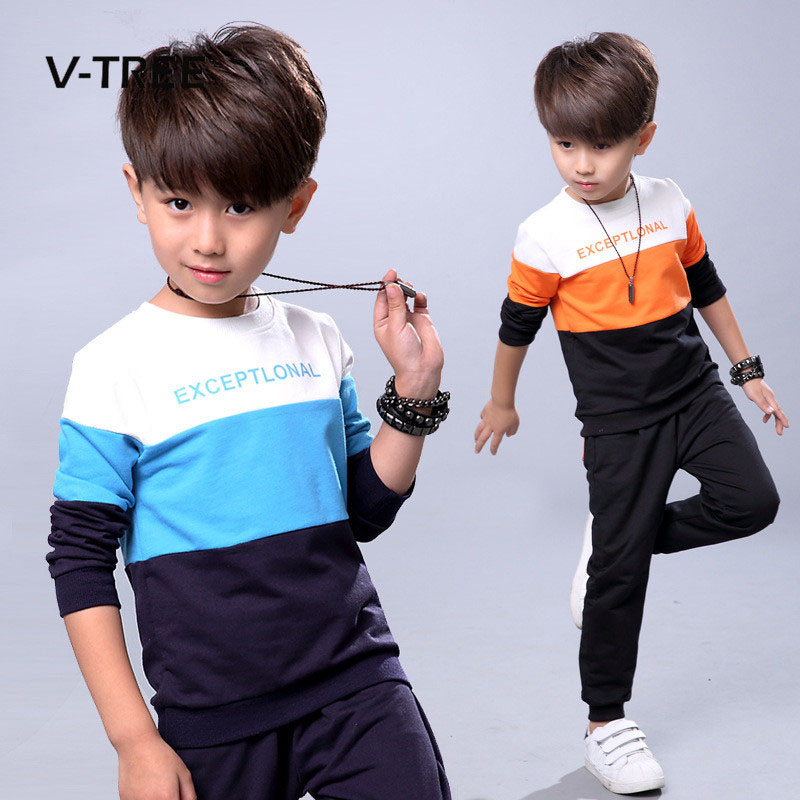 Fashion autumn teenage boys clothing sets stripe casual boys sport suit children kids tracksuit 3-12 years teenage clothes