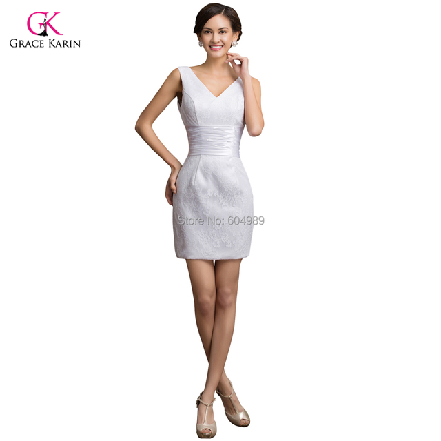 Sexy Brand Short White Lace Plus Size Cheap Prom Dress Under 50