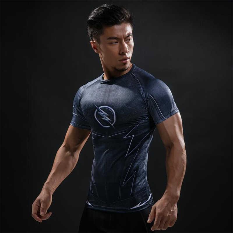3D Lengan Pendek T Shirt Pria Kaos Pria CrossFit Tee Captain America Superman Tshirt Pria Kebugaran Kompresi Kemeja BJJ MMA atasan