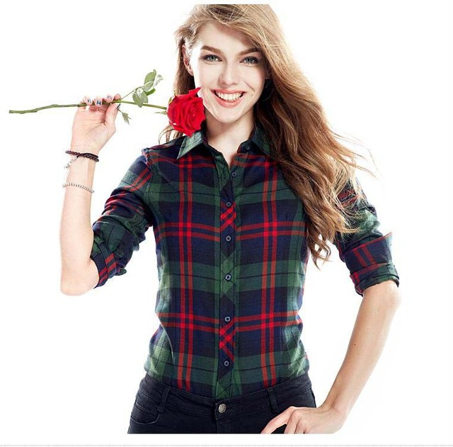 c1eab8956 Hew fashion Checked Shirt Women Ladies Checkered Shirt In A Cage Female  Blouse Red Black Flannel Plaid Shirt Women Clothing H12