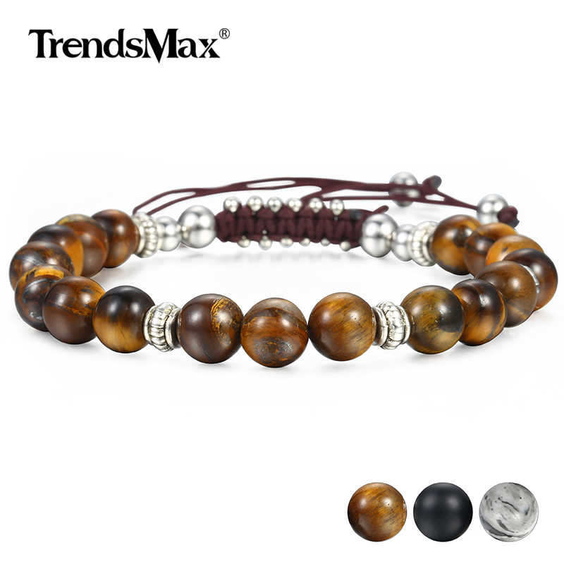 Unique 8mm Men's Women's Natural Tiger Eye Stone Beaded Bracelets Handmade Bracelets Male Dropshipping Wholesale Jewelry DBM12