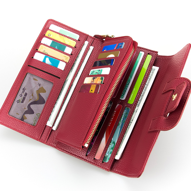 b6b711bd9 Solid Red Woman Handbag Hasp Long Wallet Litchi Pattern Leather Wallet  Three Folds Card Holder Zipper Purse inside Women Wallet