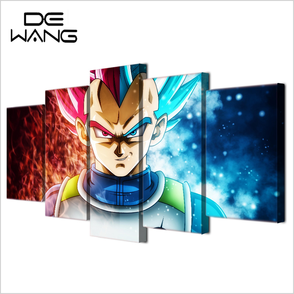 5 painting modern decoration picture dragon ball z canvas for Decoration murale dragon ball z