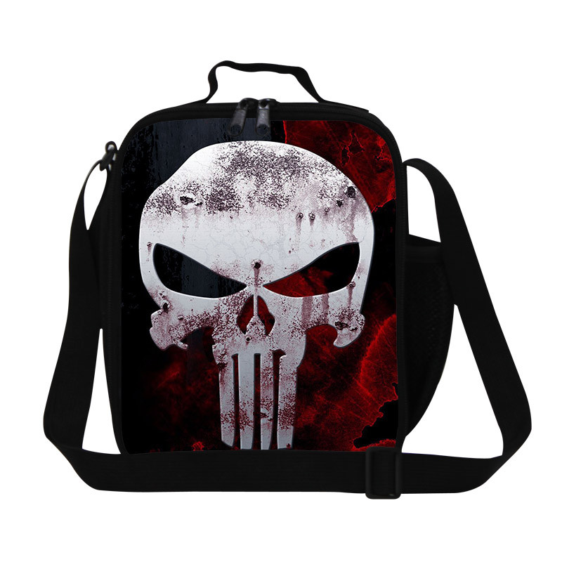 2015 new arrival cartoon kids lunch bags cool printed skull lunchbox thermal Christmas gift children shoulder bags free shipping
