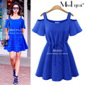 XXXL 4XL 5XL Plus Size Women Casual Dress 2017 Summer Sexy Off the Shoulder Slash Neck Short Sleeve Loose A-line Mini Dresses