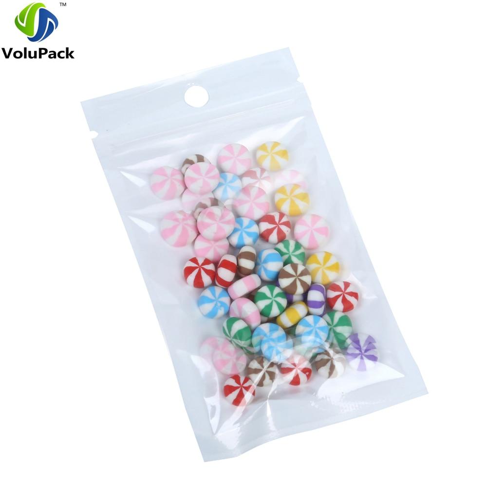Wholesale 10x18cm (4x7) Moisture proof BOPP pearl film Clear/ white ziplock plastic pouch flat hand hold mylar packaging bag