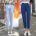 2016 Más Nuevo Otoño Harajuku Denim Pantalones Anchos de La Pierna de Las Mujeres de La Vendimia Más El Tamaño Elástico Boyfriend Jeans Sueltos Causales Pantalon Femme