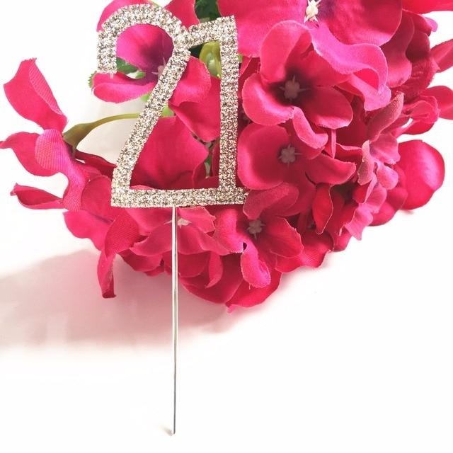 Happy 21st Birthday Party Decoration Kits Number 21 5 Cm Crystal Diamond Rhinestone Bling Cake Topper