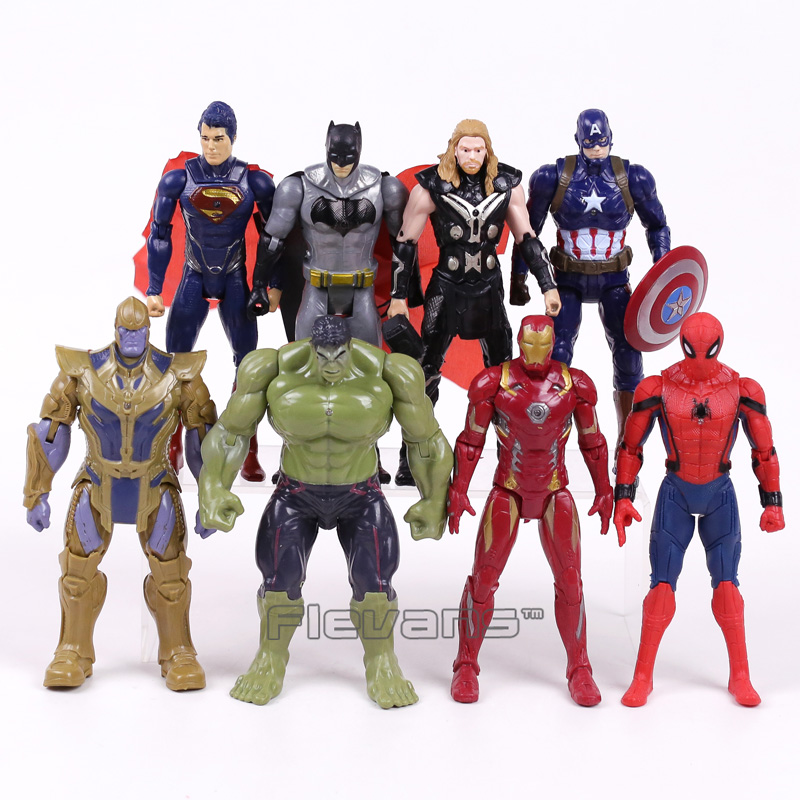Marvel Super Heroes Iron Man Spiderman Captain America Thor Hulk Thanos PVC Action Figures Toys Gift for Boy 8pcs/set 16CM bela 10241 super heroes avengers hulk lab smash set with taskmaster falcon hulk thor turret robot modok action figure toys