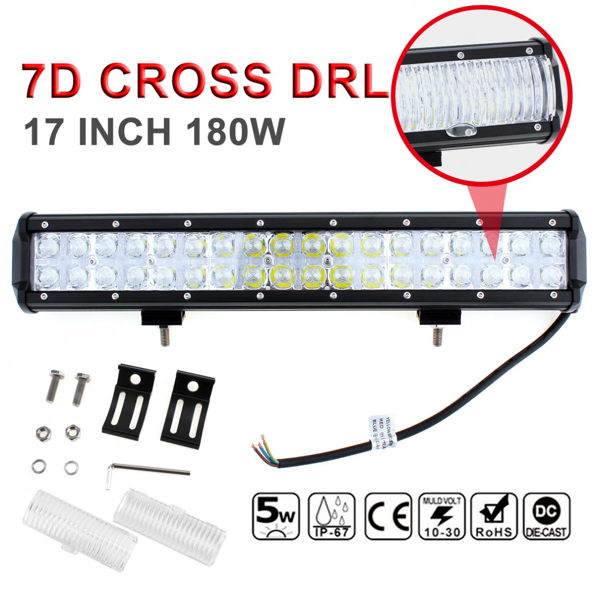 7D Cross DRL 17 Inch 180W LED Car Work Light Bar Spot Flood 36 LED Beam Combo Led Offroad Driving Light for SUV & Truck & ATV 1pc 4d led light bar car styling 27w offroad spot flood combo beam 24v driving work lamp for truck suv atv 4x4 4wd round square