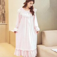Cute lace patchwork Flannel warm winter sleep dress female long sleeve princess o neck nightgowns home clothes gx1531