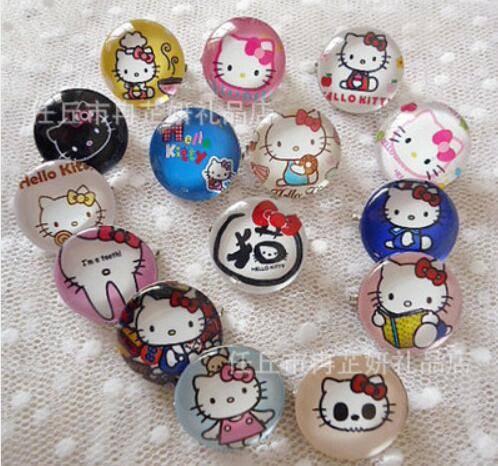 75621ae89 20 pcs mixed hello Kitty crystal glass Brooch Hippo kids Badge cool  children clothing backpack 25MM pin brooch B-4