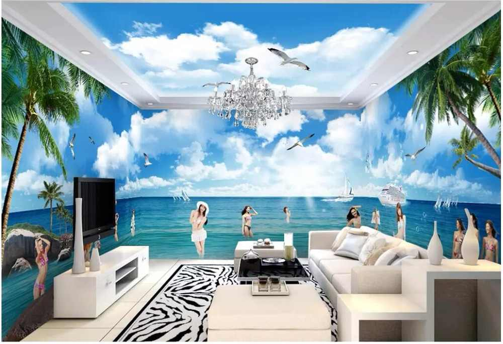 3d Room Wallpaper Landscape Custom Mural Photo Beautiful Girl
