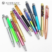 NORRATH Luxury Ballpoint Flow Oil Crystal Foil Metal Pen Cute Stationary Novelty pens for writing School Office accessories
