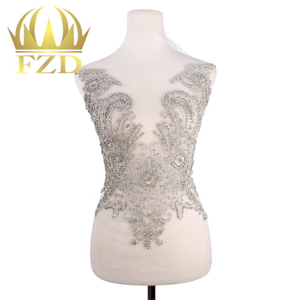FZD 1 Piece Elegant Clear crystal applique trim Gold Stone Patches Rhinestone beads for Wedding Dresses, Evening Dresses