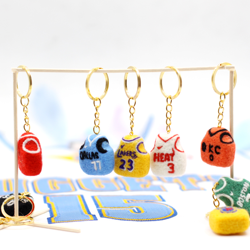 Craft Kit Wool Felt couple basketball Suit Toy Material Package Handmade Sewing Felt Basketball Jersey Key chain For Boyfriend image
