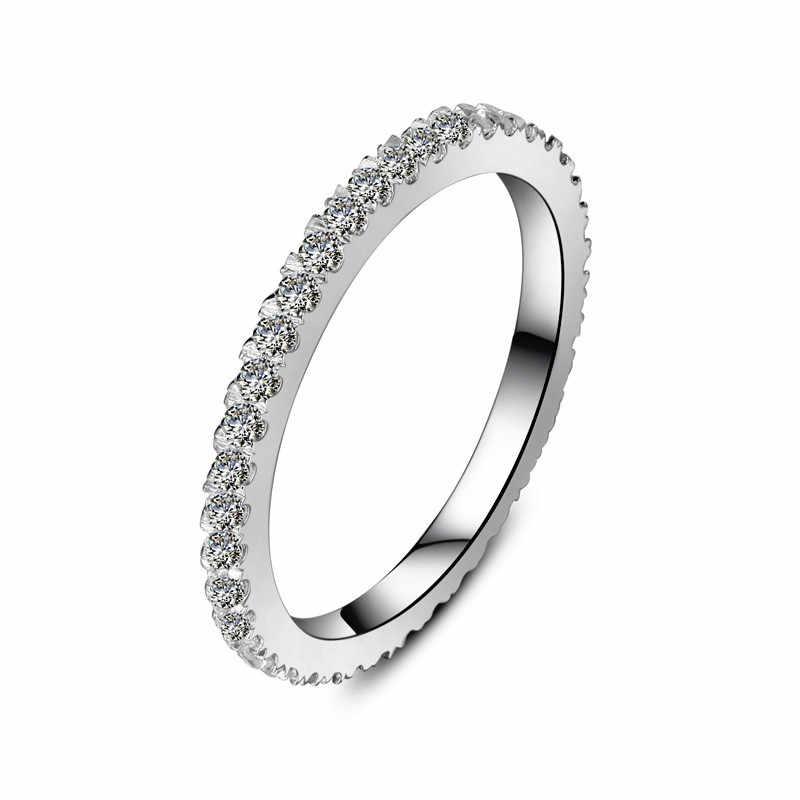 0.55ct brilhante sintético feminino banda infinito anel sólido 925 prata esterlina branco capa de ouro anel eternidade marca s925 prata