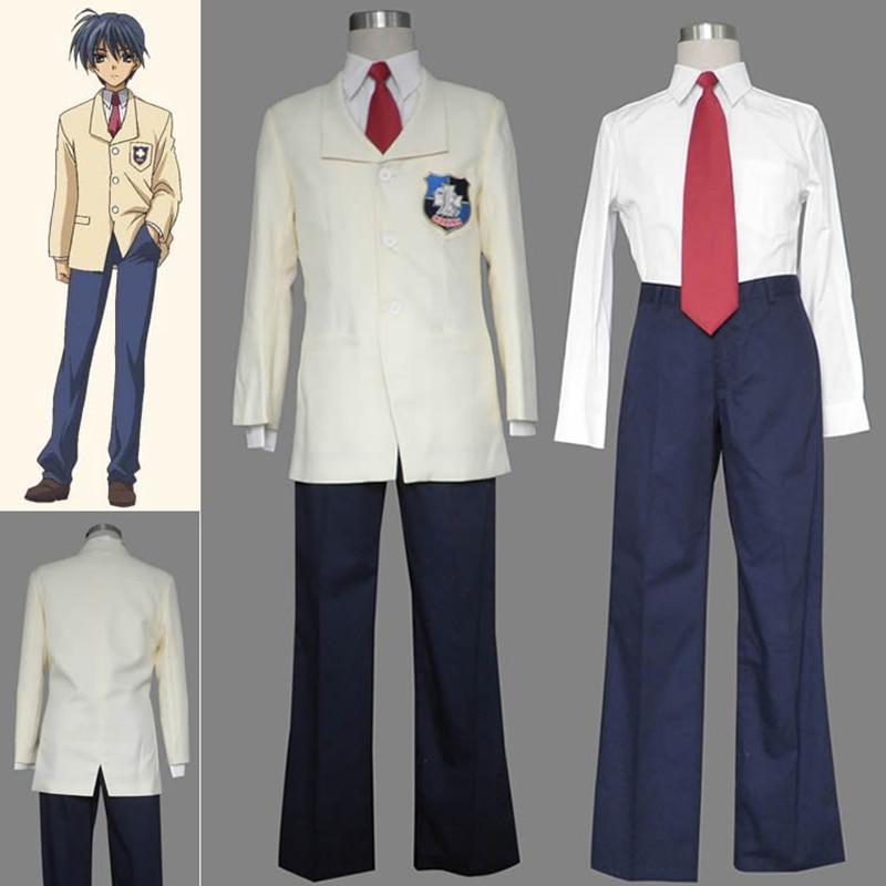 CLANNAD Okazaki Tomoya Costume Cosplay Scuola Giapponese Uniforme Full Set  Coat + Shirt + Pants + Tie d354bdfb26e