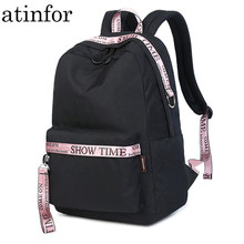 Waterproof Fabric Women Backpack Black with Pink Youth Female Fashion Bagpack Laptop Ulzzang School Bag for Teenagers Girls(China)