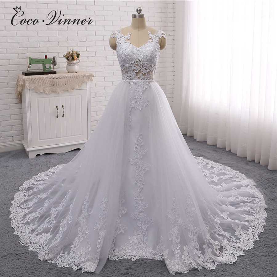 C V 2019 New Dubai Wedding Dress Illusion Sleeveless 2 in 1 Design Detechable Train 3