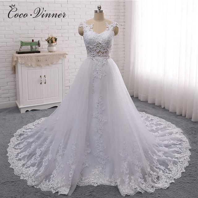 CV 2019 Novo Design Dubai Vestido De Casamento Ilusão Mangas 2 em 1 Detechable Train 3 maneiras de usar Estilo Do Casamento vestidos W0326