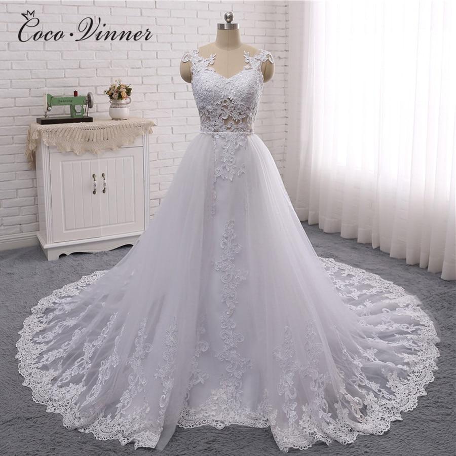 New Dubai Mermaid Wedding Dress Illusion Sleeveless 2 In 1 Design Detechable Train 3 Ways To Wear Style Wedding Dresses W0326