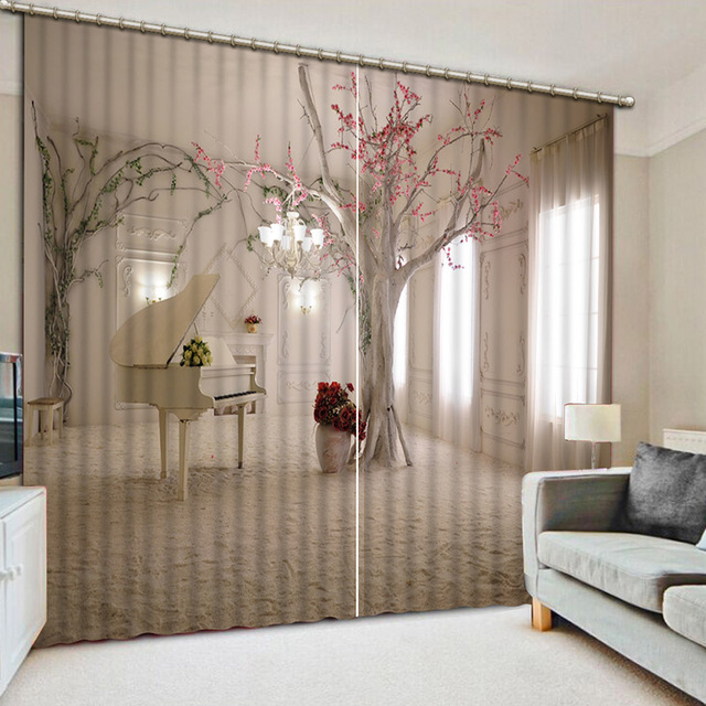 NoEnName_Null Lifelike Fine Room 3D Printing Curtains Expand The Space  Curtains Full Shade Bedroom Living Room