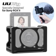 UURig Metal Video Camera Case For Sony RX0 II , VLOG Selfie Hand Grip with Cold Shoe for Microphone Light DSLR Camera Cage 1/4