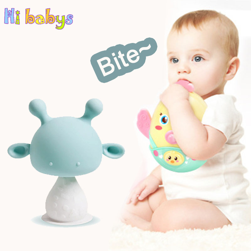 Silicone Baby Teether Handle Teething Musical Bell Toy Infant Pacifier Hand Bell Newborn Rattle Teething Training Education Toy