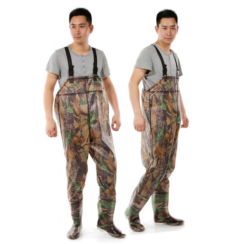 High-Jump Camouflage One-Piece Fishing Waders 0.7mm PVC Breathable Waterproof Chest Clothing Unisex Oxford End Fishing Waders high jump camouflage fishing waders 0 7mm pvc breathable waterproof chest fishing wader unisex dichotomanthes end fishing waders