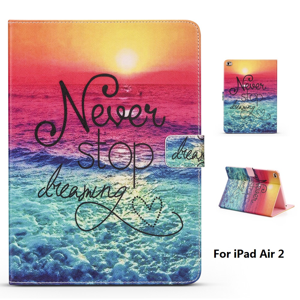 купить Early Evening Beach Pattern PU and PC Material Support Protective Cover Case for iPad Air 2 недорого
