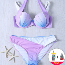 Купить с кэшбэком Sexy Bikinis 2018 Women Swimsuit Separat Summer Bathing Suits Halter Top Push Up Bikini Set Mermaid Shell Plus Size Swimwear XXL