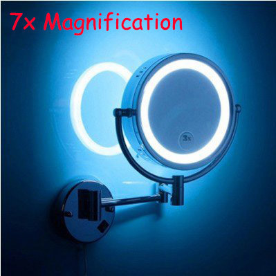 LED cosmetic 7X mirror wall mounted mirror with led bathroom beauty mirror double faced retractable makeup mirror folding high quality 9 brass 1x3x magnifying bathroom wall mounted round 25 led cosmetic makeup mirror with lighting mirror 2068