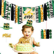 Jungle Animals Themed Highchair Banner Decor Crown Party Supplies for Baby 1st Birthday LBShipping(China)