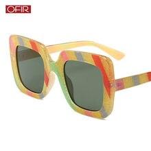 83d0a0a5eea26 OFIR Quadrado Óculos de Sol Da Moda Personalidade Tendência Viagem Óculos  De Sol da Marca do Desenhador das Mulheres Listrado Re.