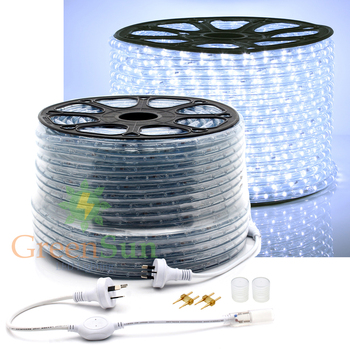 Cool White 20-50M M36 leds/m 2-Wire LED Strip Light Home Garden Xmas Lamp 220V Waterproof IP68 LED Strip Light With Power line