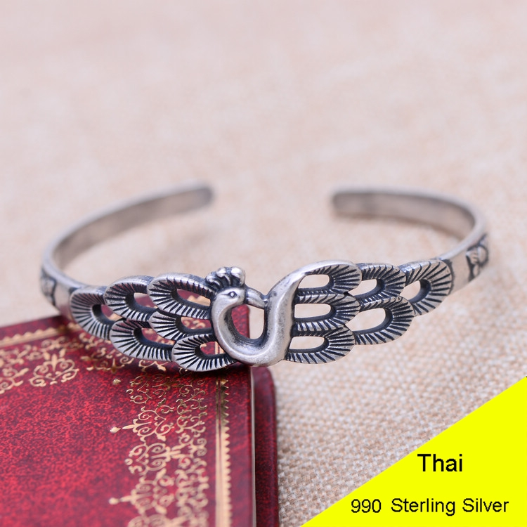 100% Genuine 990 Sterling Silver Bangle & Bracelet Thai Silver Fashion Peacock Women Fine Jewelry Gift CH021322 5pcs fashion 925 sterling silver fine jewelry bangle