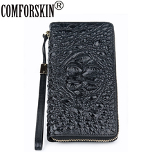 COMFORSKIN Brand Luxurious Genuine Leather Women Wallets High-end Market Alligator Large Capacity Ladies Wallets 2018 Carteira