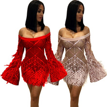 Women Sequins Tassel Flare Long Sleeve Off Shoulder Slash Neck Sexy Midi Mini Dress Bodycon Club Party Dresses Vestidos GLCY8045