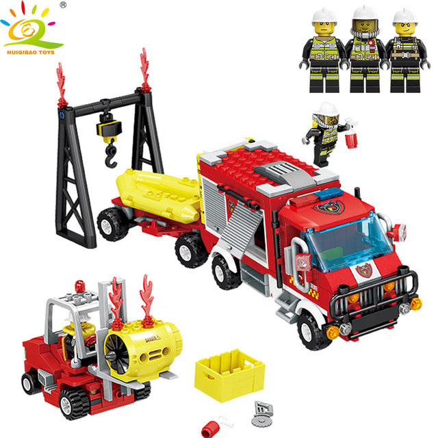 HUIQIBAO Toys 412pcs Forest Rescue Fire Truck Building Blocks For Children Compatible Legoingly City Firefighter figures Bricks