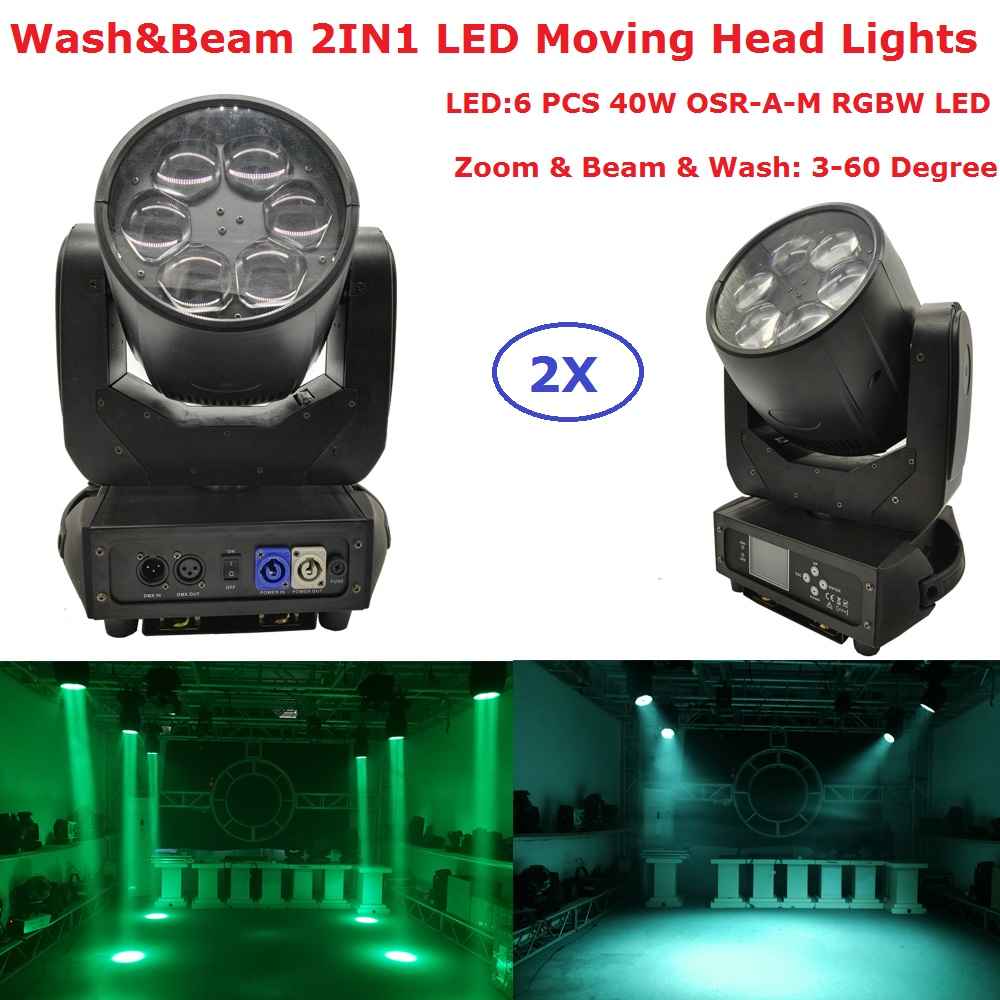 2Pcs/Lot Free Shipping Super Beam Moving Head Lights 6X40W RGBW 4IN1 LED Zoom Moving Head Wash Lights With 10/16 DMX Channel